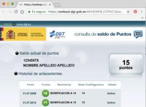 Web DGT carnet por puntos
