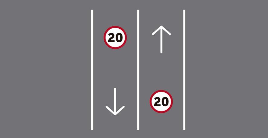 Único carril por sentido de circulación con plataforma única de calzada y acera para dos sentidos de circulación.
