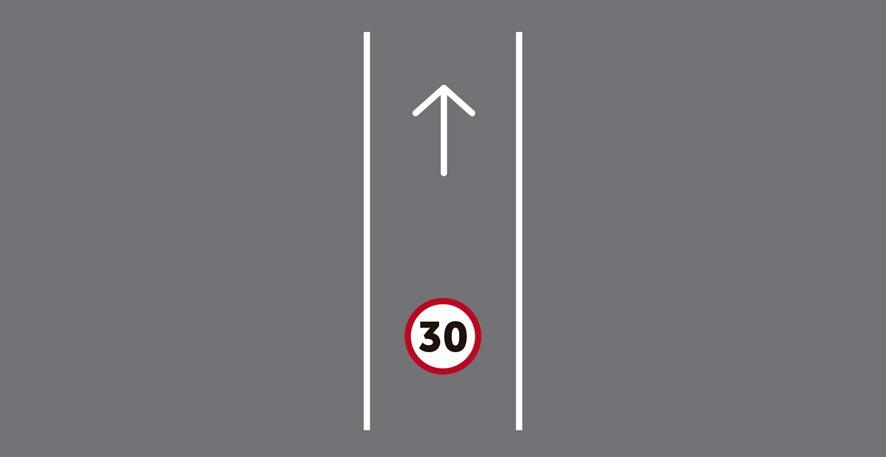 Único carril por sentido de circulación (en carretera de 1 carril).