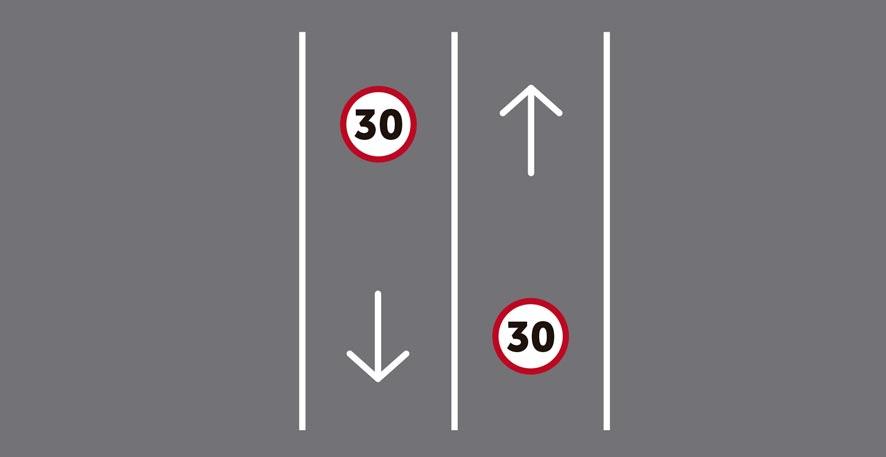Único carril por sentido de circulación (en carretera de 2 carriles).