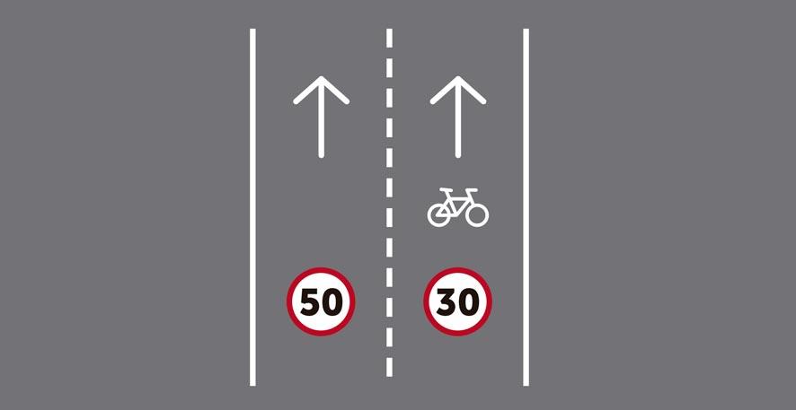 Dos carriles por sentido de circulación, siendo uno ciclocarril.