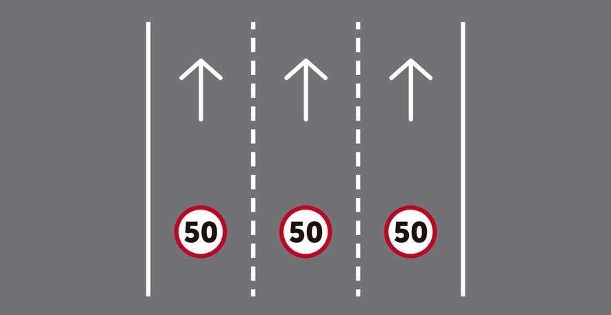 Tres carriles por sentido de circulación.