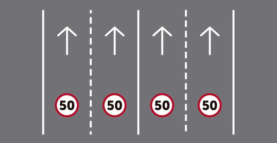 Más de tres carriles por sentido de circulación.