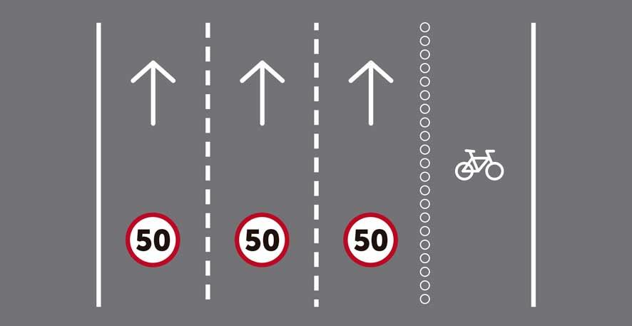 Más de tres carriles por sentido de circulación, siendo uno reservado para bicicletas.